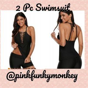 Other - New Black Beaded Crisscross Swimsuit